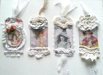 NEW altered art mixed media vintage victorian shabby chic lace tag gift OOAK