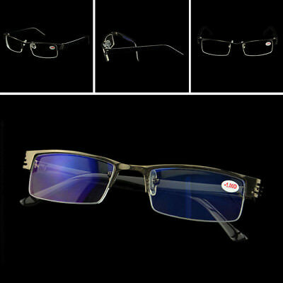 Blue Membrane Black Myopia Half Frame Nearsighted Glasses Metal -100-400 Degree