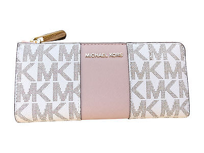 Michael Kors Jet set travel 3/4 Zip Continental Wallet Vanilla MK Ballet Pink