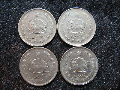 "4 old world coin lot IRAN 2 rials 1348/1969 ""radiant lion with sword"" FREE S&H"
