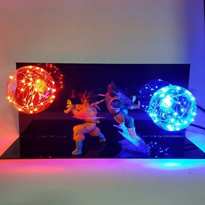 Dragon Ball Z Vegeta Son Goku Super Saiyan Fighting Together Led Lighting Anime