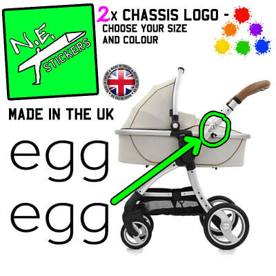 2x BabyStyle egg Replacement Chassi Logo Stickers coloured pram buggy pushchair