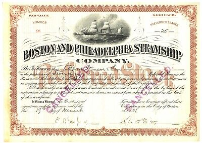 Boston and Philadelphia Steamship Company Stock Certificate