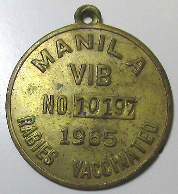 Philippines Medal, 1965 Manila Vib Rabies Vaccinated Pet Tag, Numbered, Unlisted
