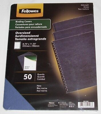 """New Fellowes 50 Binding Covers Navy Midweight Oversized 8.75"""" x 11.25"""" Textured"""