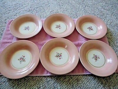 Old 6 Triumph Limoges USA English Rose  Flat Soup Bowls