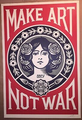 "Shepard Fairey OBEY MAKE ART NOT WAR 24"" x 36"" Print Signed Poster Banksy Kaws"