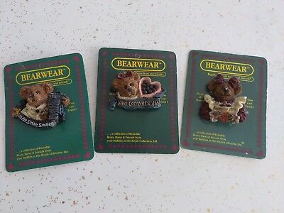 Lot of 3 Bearwear from Boyds Bears & Friends pins (New on Cards)