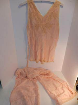 Vintage Ladies Pink Peach Silk 1930S Pajama Shirt Pants Lingerie Flapper Girl
