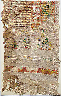8-9C Antique Textile Fragment - Dyeing and Weaving