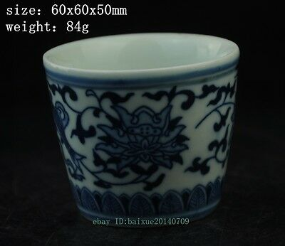 chinese antique hand engraving porcelain Blue and White fish cup