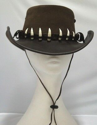 Australian Made 7 Teeth Crocodile Hat Band  Leather HAT 56/57cm Brown chinstrap