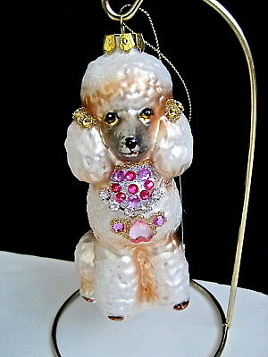 White French Poodle Dog Glass Ornament Faux Jewels Rhinestones by Robert Stanley