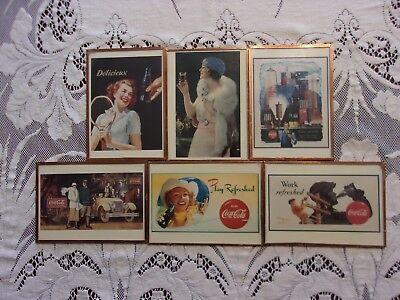 Vintage 1991 set of 6 Coca-Cola framed advertising wall hangings/coasters