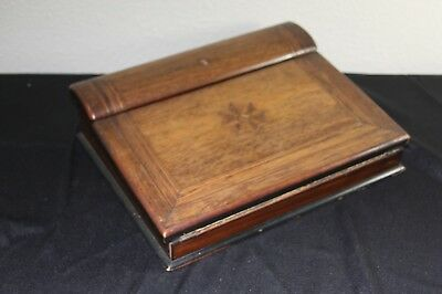 ANITQUE ENGLAND FOLDING WRITING LAP DESK WITH INLAID WOOD 1800's