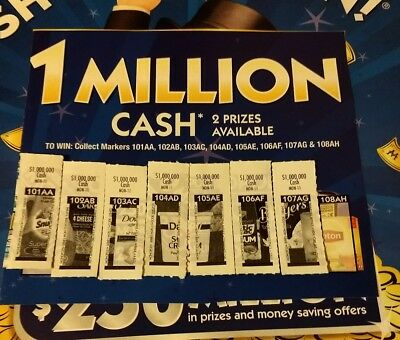 Monopoly safeway albertsons Shaws grocery game pieces 1 Million Cash 7 out of 8