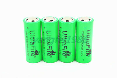 4pcs UltraFire 26650 3.7V 8000mAh Rechargeable Li-ion Battery For Led Flashlight