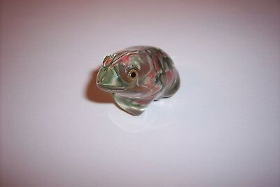 Small Glass Frog Paper Weight Clear with Green and Pink Inside made in China