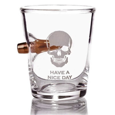 .308 Real Bullet hand-blown Shot Glass Engraved with Have a Nice Day