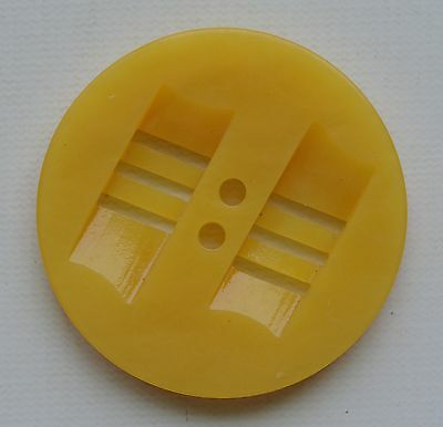 "Y178/ 8 Vintage Double Cut Yellow Casein Plastic Button 1 1/8"" Quantity Discount"
