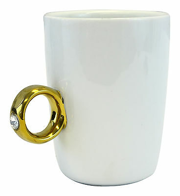 Wedding Engagement 2 Carat Solitaire Ring Mug Cup Gold Ring Tea Coffee