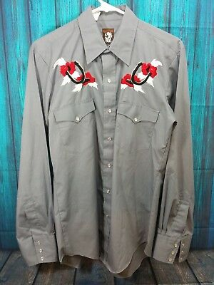 Karman Mens Vintage Western Long Sleeve Snap Button Down Grey Shirt