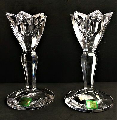 "Pair of Waterford Marquis Crystal Taper Candle Stick Holders 6"" Flora Pattern"