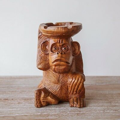 Monkey Ashtray Statue Wood Sculpture Carving Decoration Animal  Tray Woodcarving