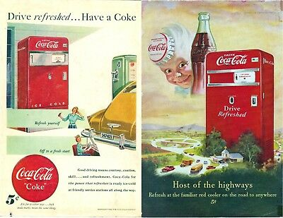 2 old Coca Cola Machines ADS from NG 1948 & 1950 very nice