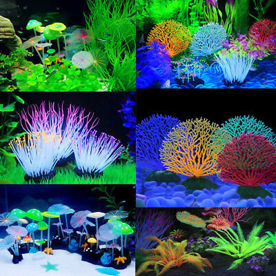 Artificial Coral Water Plant Ornament Plastic Aquarium Fish Tank Landscape Decor