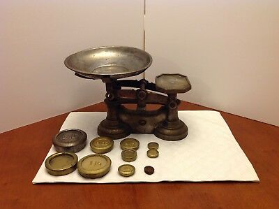 Antique Cast Iron Scale and Ten Weights with Removable Tin Scoop Tray QUICK SHIP