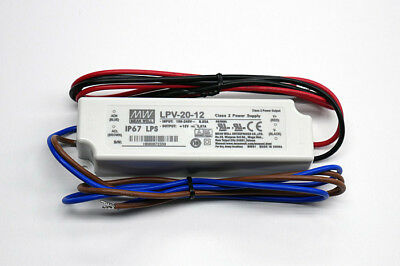 Meanwell LPV-20-12 20W 12V+ 1,67A Single LED Outdoor Weather Proof Power Supply