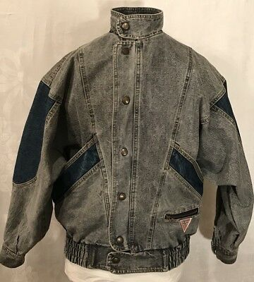 Vintage GUESS Bomber Denim Jacket Georges Marciano Blue Jean Sz 16–Made In USA