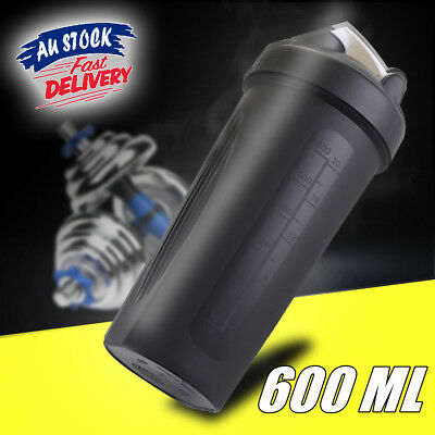 600ml Plastic Protein Powder Shaker Bottle Sport Gym Mixer Cup Drink Portable