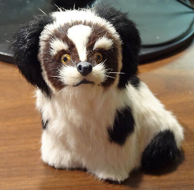 "REALISTIC SHIH TZU DOG ADORABLE FURRY ANIMAL FIGURINE 4"" x 5""  DISPLAYED ONLY"