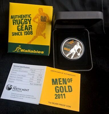2011 One Dollar Silver Proof - *wallabies - Men Of Gold* - 1 Oz Silver Coin
