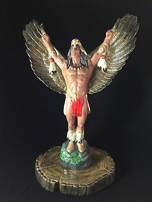 "Native American Bald Eagle Headdress 16.5"" Porcelain Ceramic Statue Figurine"