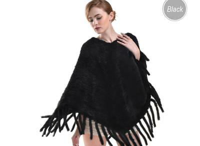 Thick Knitted Lady Real Mink Fur Poncho Women Winter Warm Cape Shawl Fashion