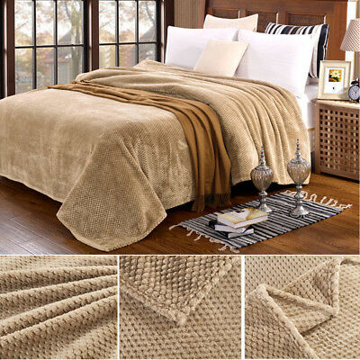 Warm Blanket Thickened Coral Plush Fleece Soft Solid Throw Rug Sofa Bedding Mat