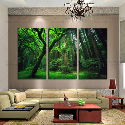 HD Canvas Prints 3 Panels Green Painting Artwork Modern Home Wall Decor Picture