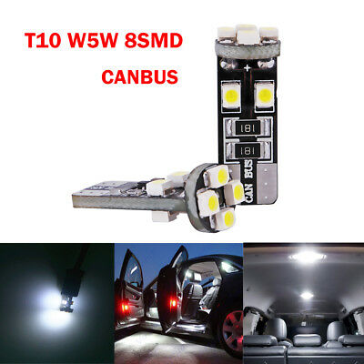 2x T10 501 W5W CANBUS ERROR FREE 8 SMD LED XENON HID PURE WHITE SIDE LIGHT BULBS