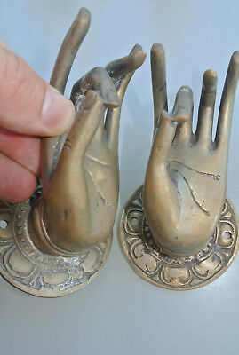 2 used Pull handle hand buddha brass silver door age old style knob hook 7.5 cm