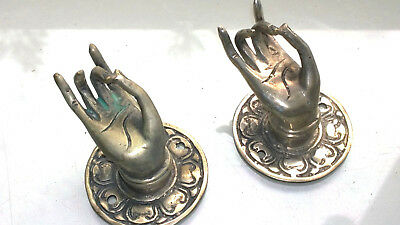 """2 used silver used handle hand brass door old style knob hook 2.1/4 """"buddha"""