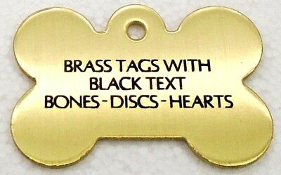 Pet Tags ~ Brass Bones, Discs & Hearts Pet Tags with Black Text pet id