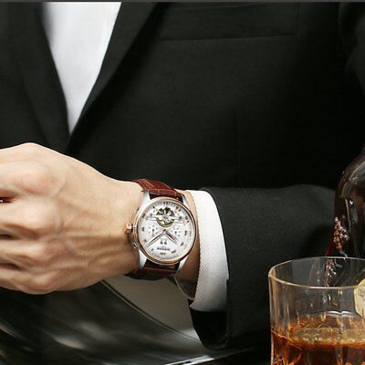 Waterproof Men Business Watch Tourbillon-hollow Automatic Mechanical Watch HQ