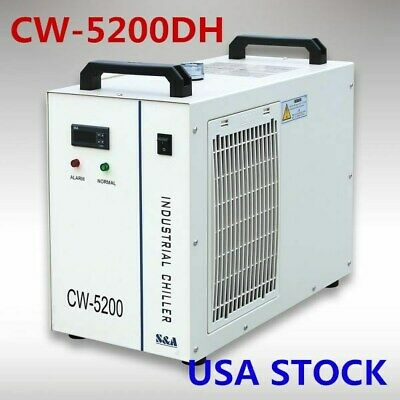 US Stock CW-5200DH Industrial Water Chiller for 8KW Spindle / 2 100W CO2 Tubes