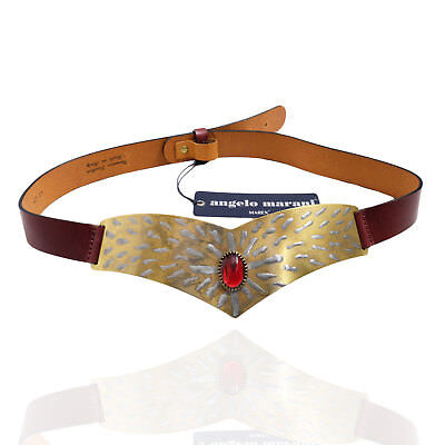 Angelo Marani Cintura in Pelle e Metallo con Gioiello Donna Women's Belt Tg.95