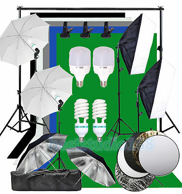 Profi Fotostudio Set 5X Hintergrundsystem 500W LED Studioleuchte Lampe Softbox