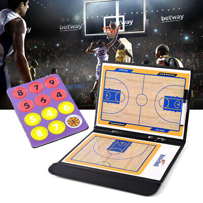 Portable Magnetic Basketball Tactic Coach Board Training Aids Clipboard Game Kit