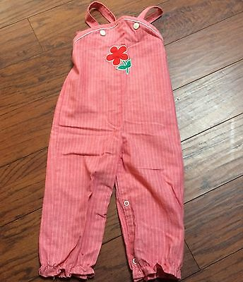 Vintage Sears Winnie The Pooh Disney Red Striped Overalls Girls Large 24 Months